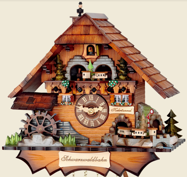 Moving model trains in cuckoo clock for sale